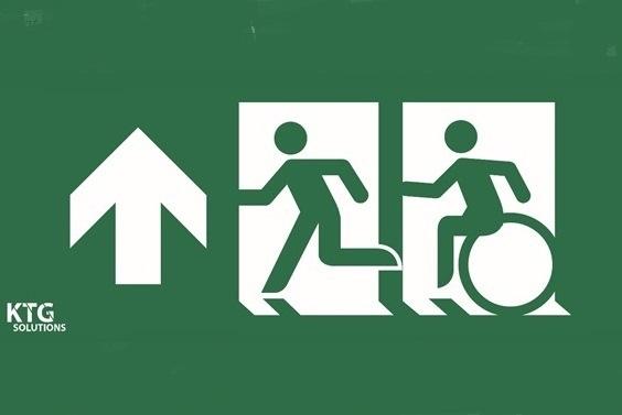 Pictogram vluchten rolstoel